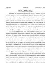 advertisement analysis essay kaitlyn rial a the art of  bookmarked docs wra 150 advertisement analysis essay