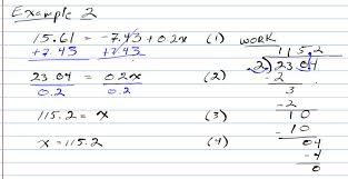 example 2 solving two step equations with decimals