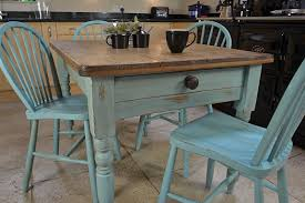rustic small square distressed dining table with drawer and light blue windsor chairs a gallery
