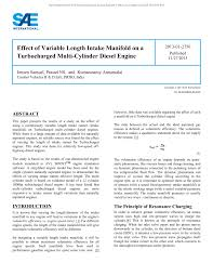 PDF) Effect of Variable Length Intake Manifold on a Turbocharged ...
