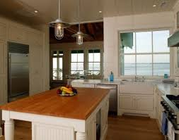 Nice 2 Industrial Style Rustic Pendant Lighting Kitchen Over White Kitchen  Island With Wooden Top