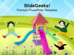 Playground For Children Amusement Powerpoint Template