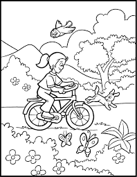 Spring Coloring Pages Bike In Nature Free Printable Coloring Pages