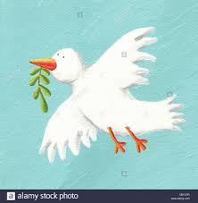 acrylic ilration of peace dove with olive branch stock image