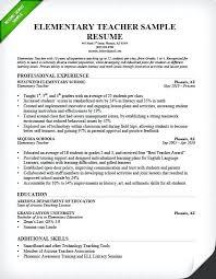 Resume Sample Formats Elementary Teacher Resume Sample Sample Cv
