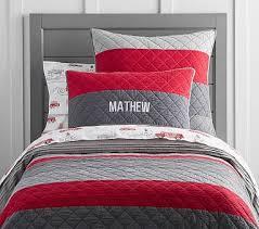 Twin Red Bedding | Pottery Barn Kids & Block Stripe Quilt, Twin, Red/grey Adamdwight.com