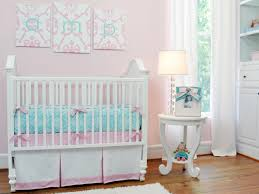 wonderful chic pink white nursery room design interior plus furniture decoration combination crib bedding and aqua monogram ottoman with playful pattern