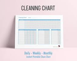 Daily Weekly Monthly Chores Monthly Chore Chart Etsy