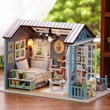 building doll furniture. christmas gifts miniature doll house model building kits casa de boneca wooden furniture toys birthday giftsforest times