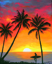 surfer painting tropical sunset surfer by amy scholten