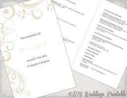 Wedding Program Scroll Catholic Wedding Program Template Champagne Scroll