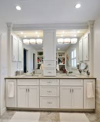 double sink with vanity in middle. comely white bathroom decoration using recessed light in including wood double vanity and square sinks sink with middle i