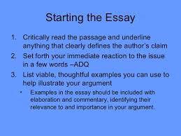 ap language general argument test strategy starting the essay