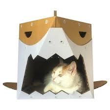 Cardboard House For Cats Shark Cardboard Cat Houseunique Cat Furniturecat Toycat