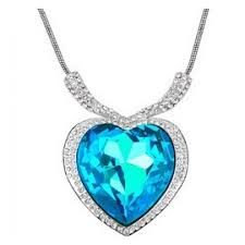 sky blue titanic heart of ocean with white gold plating necklace for girls women