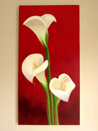 items similar to original lilies on red background calla lily painting wall art flowers acrylic on canvas x on