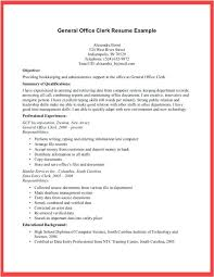 Resume Office Clerk Resume Sample For Resume Examples Clerical