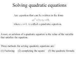 1 solving quadratic