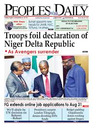 Peoples Daily Tuesday August 02 2016. Edition. by Peoples Media.