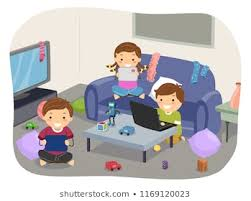 ilration of stickman kids playing video games in a messy living room