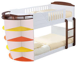 acme neptune twin twin bunk bed with storage shelves white and chocolate beach style bunk beds by virventures