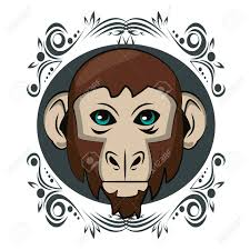 Monkey Graphic Design Monkey Face Cool Sketch On Antique Round Frame Vector Illustration