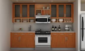 brown full kitchen cabinet with glass door kitchen wall cabinet and plate racks plus kitchen shelves also wall microwave above modern range cooktop