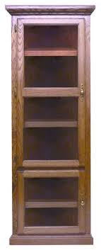 traditional corner bookcase with glass doors