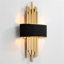 Metal Pipe Living room <b>Led</b> Wall Lamp Gold/Black Body Bedroom ...