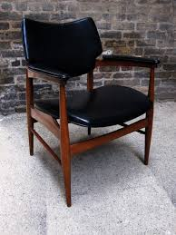 mid century walnut leather side chair