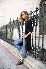a minimalistic black trench coat is the perfect finish to a casual jeans and tee outfit