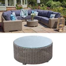 round wicker glass top coffee table
