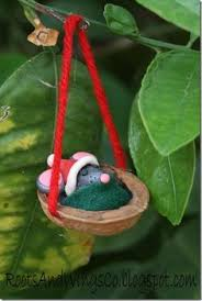 Baby Mouse Santa Christmas Ornaments - mice are sleeping in walnut shells!