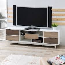 modern inch white tv stand entertainment center with natural