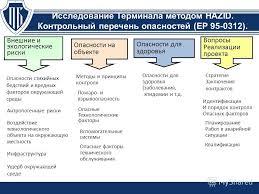 Презентация на тему Обоснование безопасности ОПО Развитие  23 Исследование Терминала методом hazid Контрольный