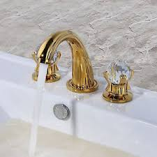 gold bathroom faucet. Image Is Loading Gold-Bathroom-Basin-Sink-Faucet-Crystal-2-Handles- Gold Bathroom Faucet I