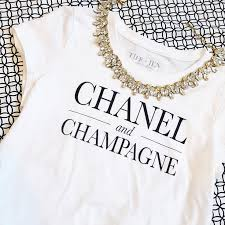 chanel shirt. sarah betty stylust chanel and champagne t shirt