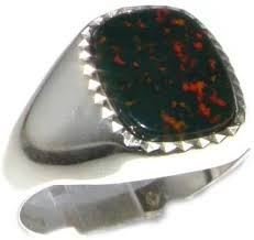 Sterling <b>Silver</b> Mens Cushion Cut <b>Bloodstone</b> Signet Ring - Sizes 8 ...