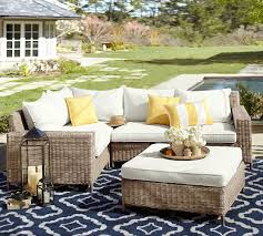 torrey all weather wicker square arm outdoor sectional set natural pottery barn