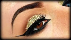 gold glitter eye makeup makeup gold glitter elegant tutorial trucco natale