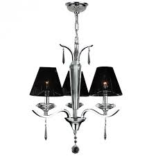 gatsby collection 3 light arm chrome finish and clear crystal chandelier with black string empire sh