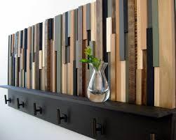 wood coat rack with shelf rustic sculpture hooks in wooden plan 7
