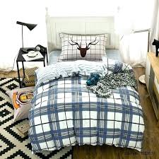 classic blue plaid bedding set cotton duvet cover twin size bed sheet tartan flannel green comforter