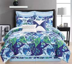 12 piece queen paisley blue green white bed in a bag w 600tc cotton sheet set