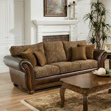 vintage leather couch. Simmons Zephyr Vintage Leather And Chenille Sofa With Accent Pillows   Hayneedle Couch