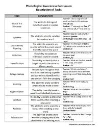Phonological Awareness Continuum Description Of Tasks 95