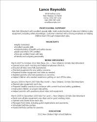 Resume Templates: Kids Club Attendant