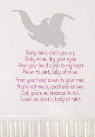 Dumbo Quotes Amazing Disney Dumbo Wall Decal Lullaby Decal Baby Mine Song Nursery Decor
