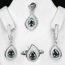 details about sterling silver 925 pear facet mystic topaz pendant earring ring sz p 5 us 8