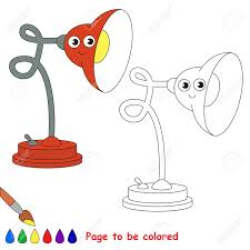 Funny Red Table Lamp To Be Colored The Coloring Book For Preschool